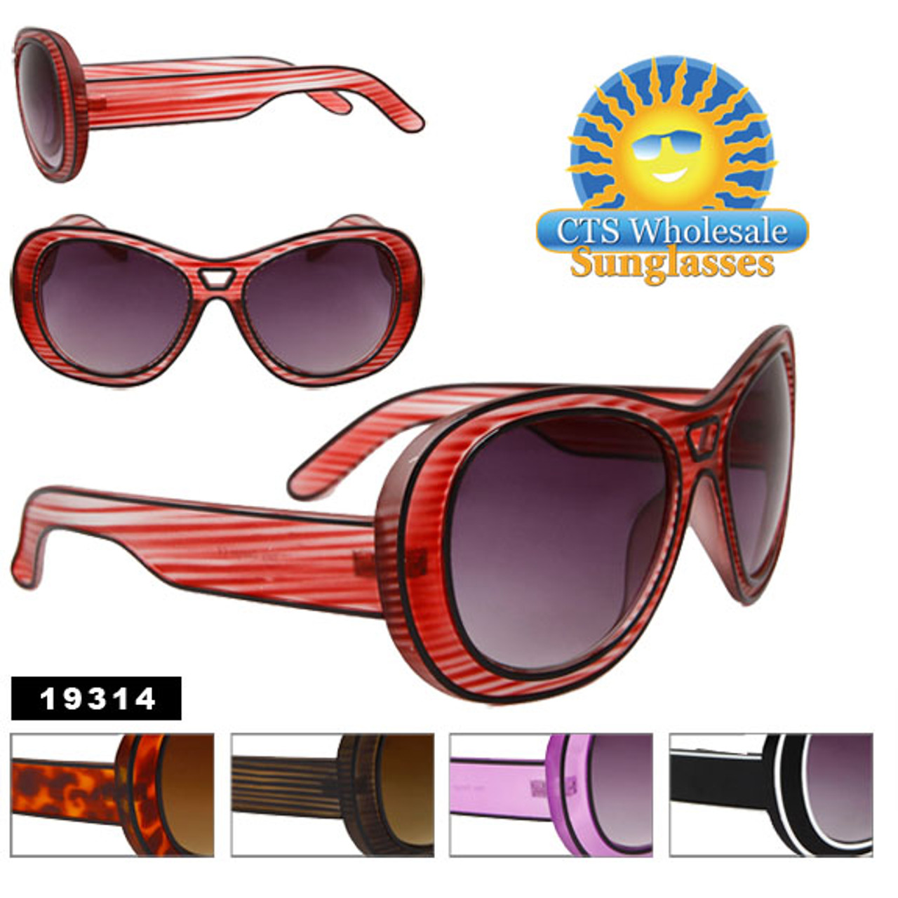 Vintage Sunglasses 19314 (Assorted Colors) (12 pcs.)