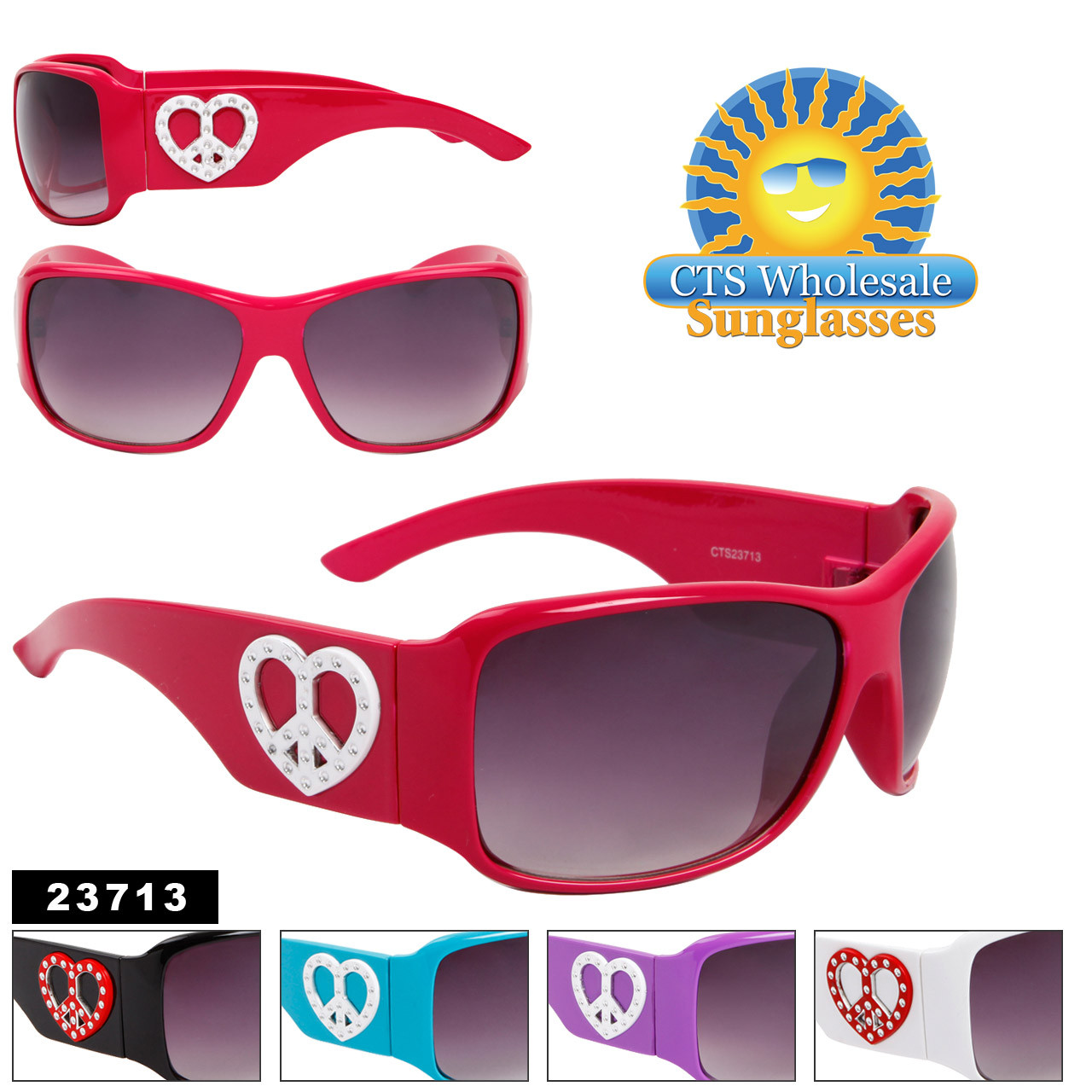 Cute Fashion Sunglasses w/Heart Shaped Peace Signs 23713