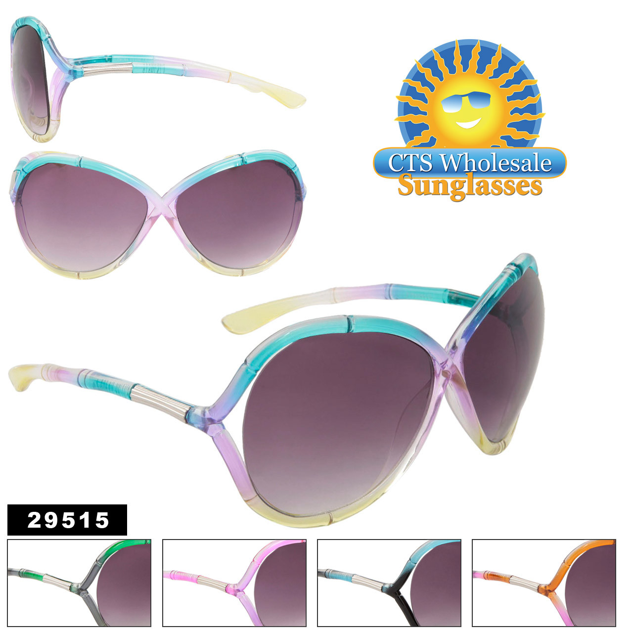 Wholesale Sunglasses with Tri-Colored Frames 29515 (Assorted Colors) (12 pcs.)