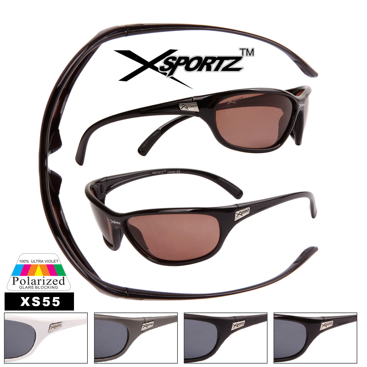 Full Wrap Around Frame Polarized Sunglasses - Style #XS55 (Assorted Colors) (12 pcs.)