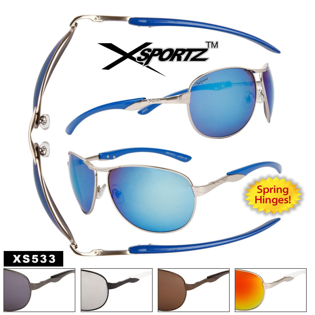 Wholesale Xsportz™ Sunglasses by the Dozen - Style # XS533 Spring Hinge Aviators (Assorted Colors) (12 pcs.)