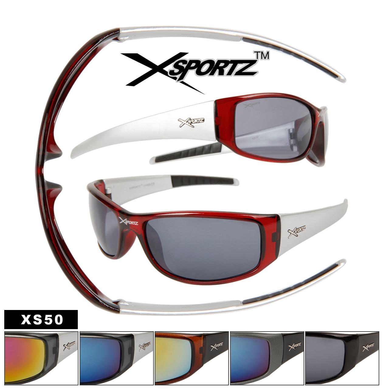 Xsportz Sunglasses XS50 Wholesale Sport Sunglasses (Assorted Colors) (12 pcs.)