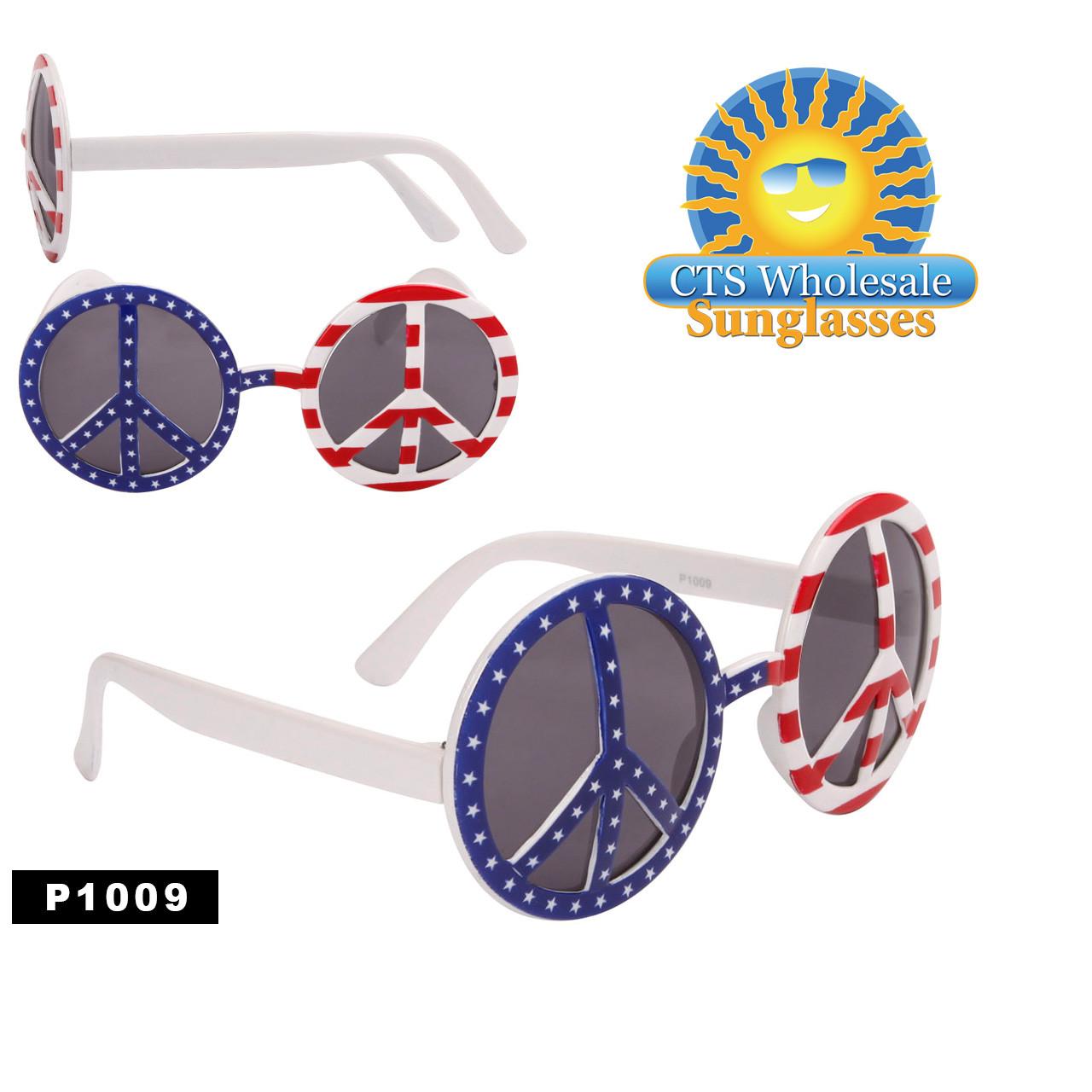 "Wholesale Party Glasses ~ ""Peace Sign Flag""  ~ P1009"