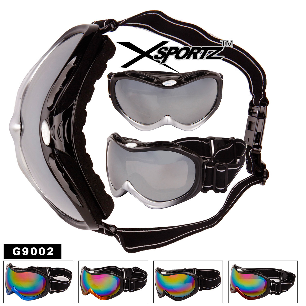 Wholesale Skiing Goggles - Style #G9002 (Assorted Colors) (12 pcs.)