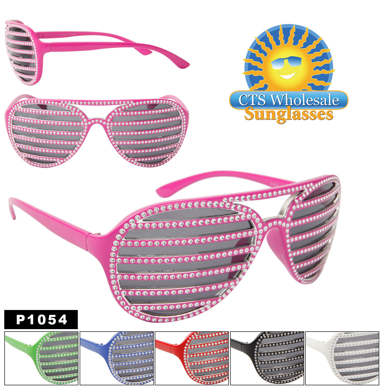 Faux Rhinestone Shutter Shades P1054 (12 pcs.) (Assorted Colors)