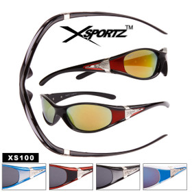 Slim Full Frame Wrap Around Sport Sunglasses - Style #XS100 (Assorted Colors) (12 pcs.)