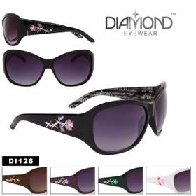Rhinestone Flower Temple Fashion Sunglasses - Style #DI126 (Assorted Colors) (12 pcs.)