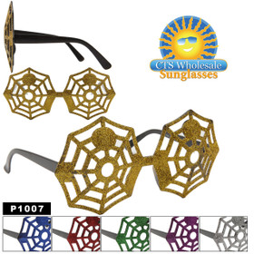 "Party Glasses ""Spider Webs""  ~ P1007 (12 pcs.) Glitter Party Sunglasses (Assorted Colors)"