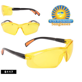 Safety Glasses ~ Driving Glasses  ~ Yellow Lens ~ S117 Rubber Tipped ~ Adjustable Arms (12 pcs.)