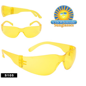Safety Glasses ~ Driving Glasses ~ S105 (12 pcs.) Yellow Lens