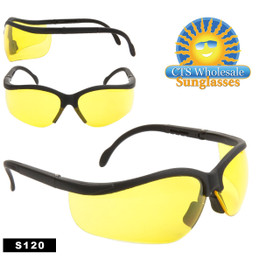 Safety Glasses ~ Driving Glasses  ~ Yellow Lens ~ S120 (12 pcs.) Adjustable Arms