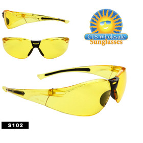 Safety Glasses ~ Driving Glasses ~ S102 (12 pcs.) Yellow Lens