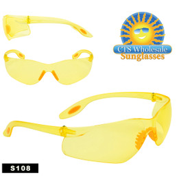 Wholesale Yellow Safety Glasses ~ S108 (12 pcs.)