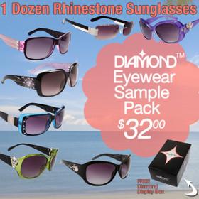 Sample Pack 12 Pair Assorted Diamond Eyewear Sunglasses SPA-DI (12 pcs.)