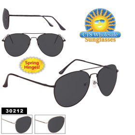 Smoke Lens Aviators by the Dozen - Style #30212 Spring Hinges! (Assorted Colors) (12 pcs.)