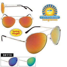 Mirrored Aviator Sunglasses Wholesale - Style #30113 Spring Hinge (Assorted Colors) (12 pcs.)