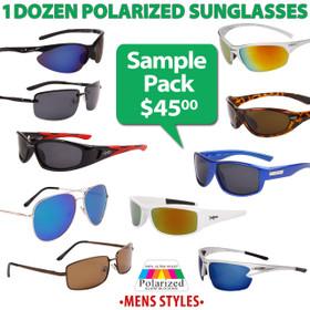 Polarized Men's Sunglasses Sample Pack SPA-PM (12 pcs.) (Assorted Colors)