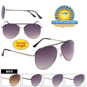 Bulk Spring Hinge Aviator Sunglasses - Style #800 (Assorted Colors) (12 pcs.)