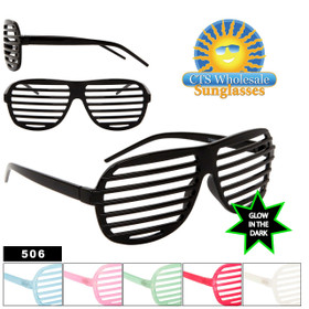 Glow In The Dark Shutter Shades 506 Black Frame Does NOT Glow (Assorted Colors) (12 pcs.)