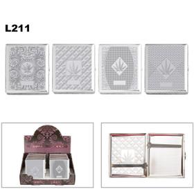 Wholesale Cigarette Cases L211 (12 pcs.) Assorted Chrome Patterns with Pot Leaves