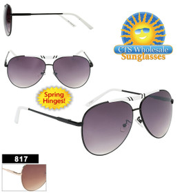 Bulk Metal Aviator Sunglasses - Style #817   Spring Hinge!