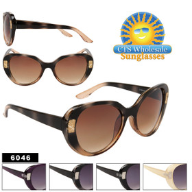 Cat Eye Fashion Sunglasses with Metal Accents - Style #6046 (Assorted Colors) (12 pcs.)