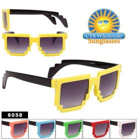 Pixelated Sunglasses Wholesale - Style #6058 (Assorted Colors) (12 pcs.)