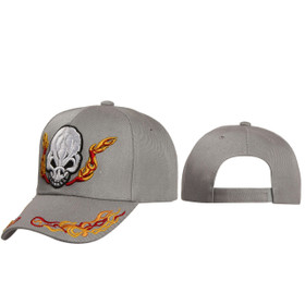 Wholesale Hats with Skull & Flames ~ Grey