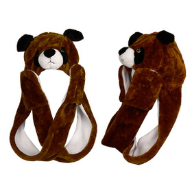 Wholesale Brown Puppy with Long Arms Animal Hat A114 (1 pc.)