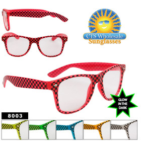Glow In The Dark Sunglasses - Checkered California Classics - Style # 8003 (Assorted Colors) (12 pcs.)