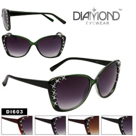 Wholesale Cat Eye Sunglasses with Rhinestones  - Style # DI603 (Assorted Colors) (12 pcs.)