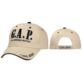 Wholesale Baseball Cap ~ G.A.P. God Answers Prayers ~  Beige