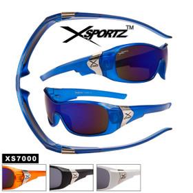 Xsportz™ Men's Sports Sunglasses Wholesale - Style # XS7000 (Assorted Colors) (12 pcs.)