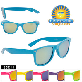 Mirrored California Classics Sunglasses by the Dozen - Style #35211 (Assorted Colors) (12 pcs.)