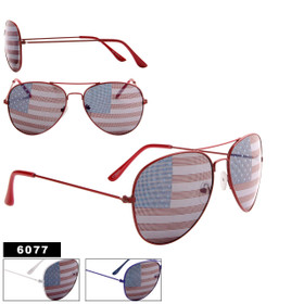 American Flag Aviators Wholesale - Style #6077 (Assorted Colors) (12 pcs.)