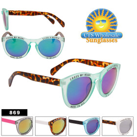 """Cross My Heart"" Fashion Sunglasses - Style #869 (Assorted Colors) (12 pcs.)"