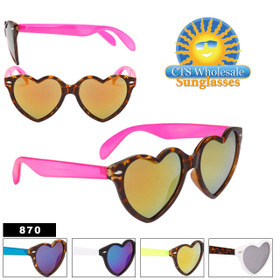 Heart Sunglasses with Mirrored Lens - Style #870 (Assorted Colors) (12 pcs.)