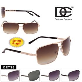 Men's DE™ Square Aviator Sunglasses - Style #DE738 Spring Hinge