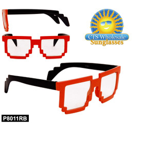 Wholesale Pixelated Clear Sunglasses - Style #P8011RB