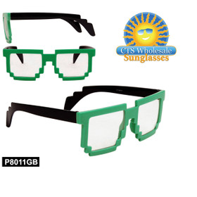 Wholesale Pixelated Clear Sunglasses - Style #P8011GB