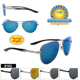Aviator Sunglasses - Style #6102 Spring Hinge! (Assorted Colors) (12 pcs.)