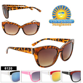 Fashion Cat Eye Sunglasses- Style #6120 (Assorted Colors) (12 pcs.)