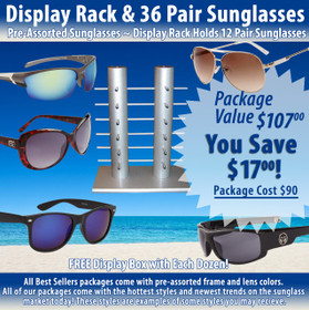 Package Deal ~ 1 Sunglass Rack & 36 Pair Assorted Sunglasses SPA4 (7039 + 36 pcs.) (Assorted Colors)
