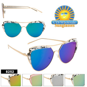 Women's Retro Sunglasses - Style #8252 (Assorted Colors) (12 pcs.)