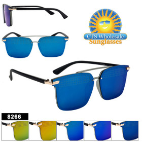 Mirrored Sunglasses - Style #8266 (Assorted Colors) (12 pcs.)