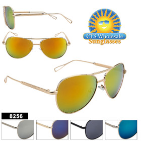 Mirrored Fashion Aviators - Style #8256 (Assorted Colors) (12 pcs.)