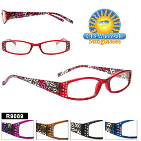 Wholesale Reading Glasses - R9089 (12 pcs.) Assorted Colors ~ Lens Strengths +1.00—+3.50