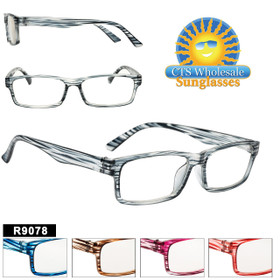 Reading Glasses Wholesale - R9078 (12 pcs.) Assorted Colors ~ Lens Strengths +1.00—+3.50