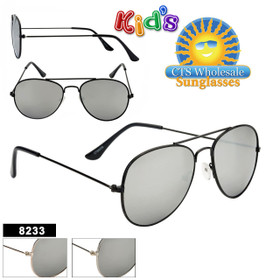 Mirrored Kid's Aviator Sunglasses Wholesale - Style #8233 (Assorted Colors) (12 pcs.)