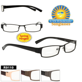 Wholesale Reading Glasses - R9110 Spring Hinges! (12 pcs.) Assorted Colors ~ Lens Strengths +1.00—+3.50